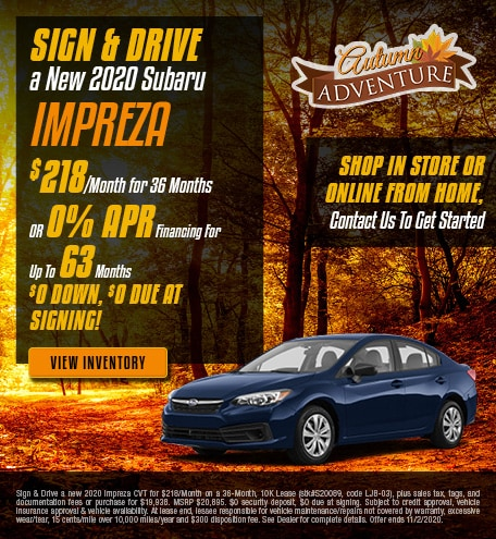 Sign & Drive a New 2020 Subaru Impreza - Oct