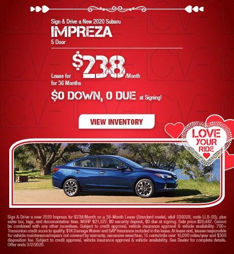 Sign & Drive a New 2020 Subaru Impreza 5 Door - Feb