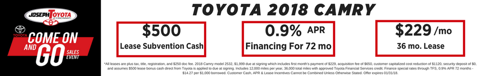 Financing Offer : 0.9% APR for 72 months on select Toyota Camry models