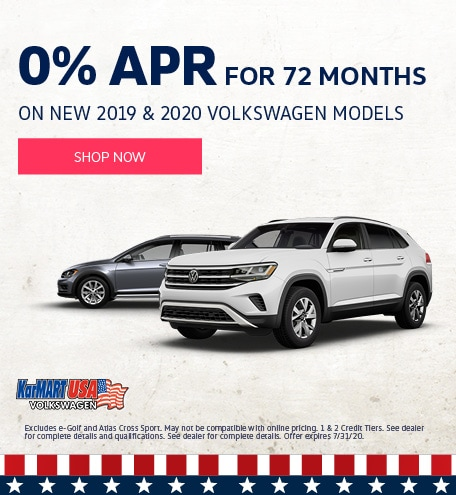 July 0% APR for 72 months on New 2019 and 2020 Volkswagen Models