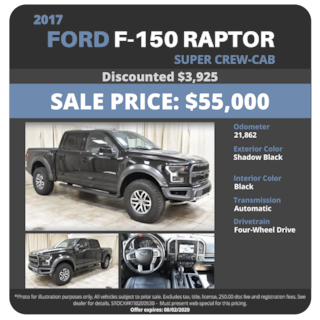 2017 Ford F-150 Raptor Supercrew Cab - $55,000