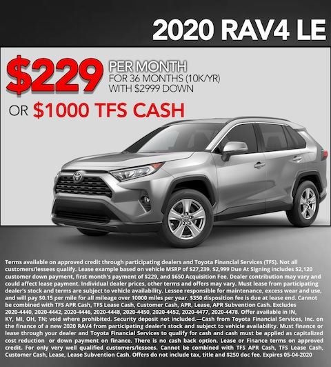 2020 Toyota RAV4 LE - Lease for $229/month for 36 months (10k/yr)
