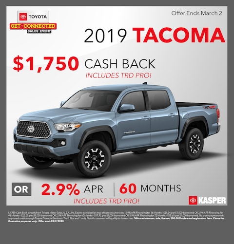 2019 Toyota Tacoma -- $1,750 Cash Back Or 2.9% APR for 60 months!