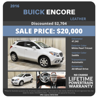 2016 Buick Encore Leather - $20,000