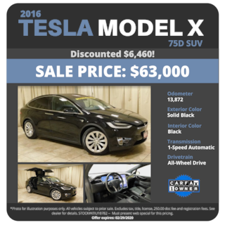 2016 Tesla Model X 75D - $63,000