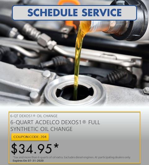 6-QUART ACDELCO DEXOS1® FULL SYNTHETIC OIL CHANGE