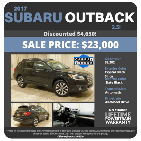 2017 Subaru Outback 2.5i - Sale Price $23,000