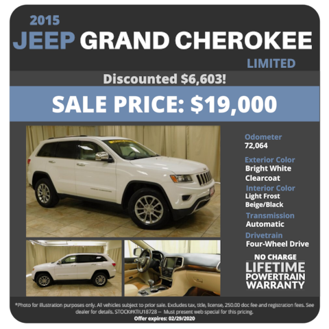 2015 Jeep Grand Cherokee Limited - $19,000