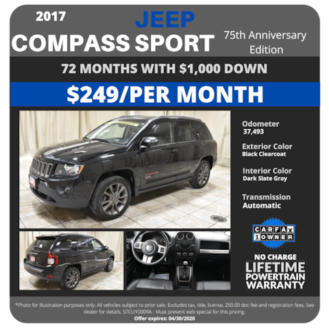 2017 Jeep Compass 75th Anniversary Edition - $249/month