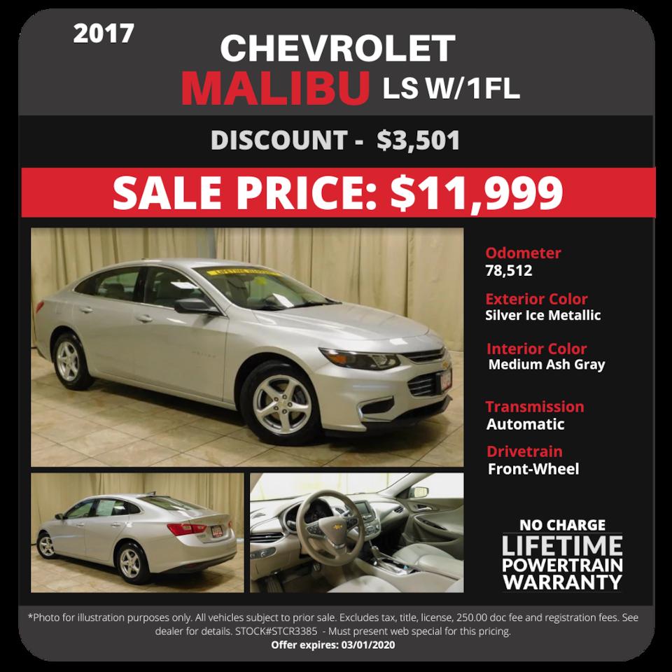 2017 Chevrolet Malibu - $11,999