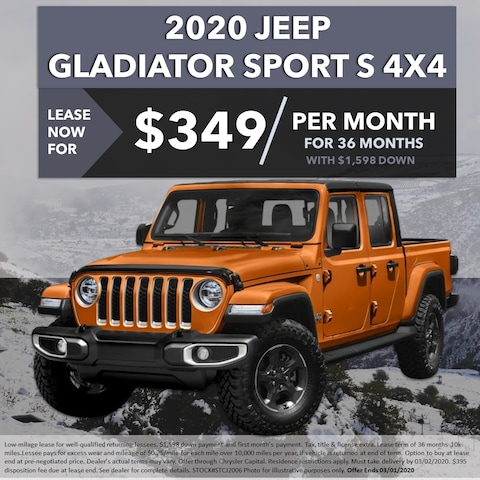 2020 Jeep Gladiator Sport S 4x4 - Lease For $349/Month