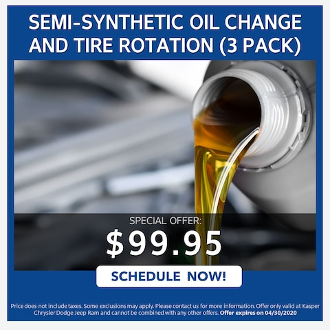 SEMI-SYNTHETIC OIL CHANGE AND TIRE ROTATION (3 PACK) - $99.95