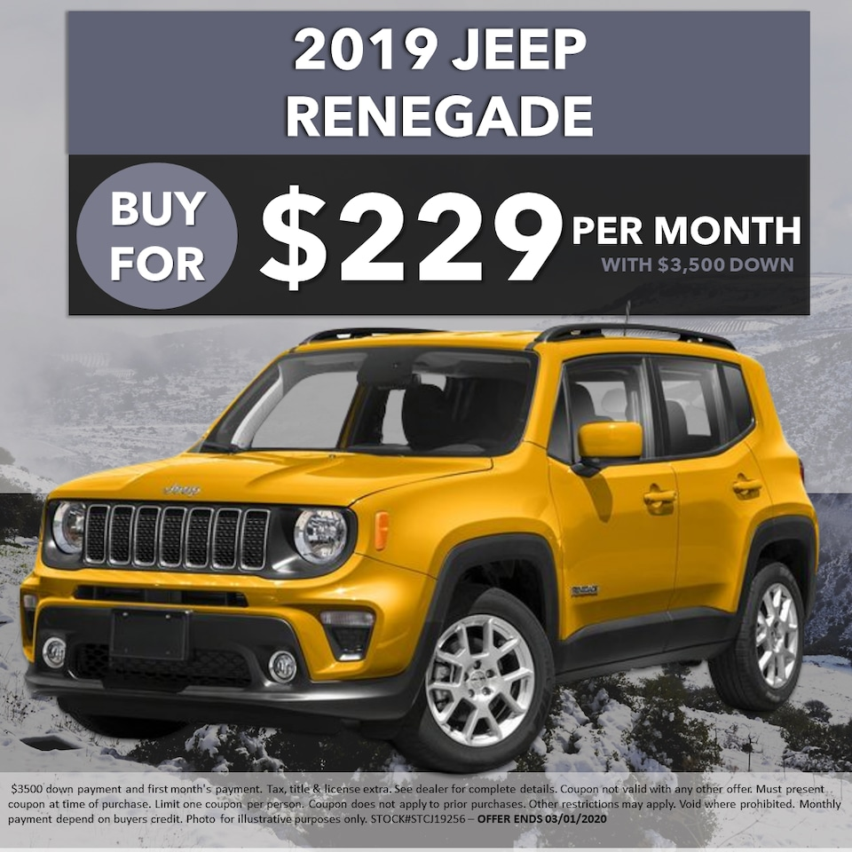 2019 Jeep Renegade -- Buy For Just $229/Month