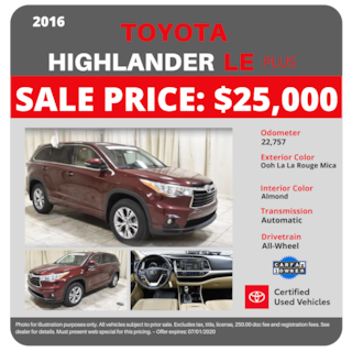 2016 Toyota Highlander LE Plus AWD -$25,000