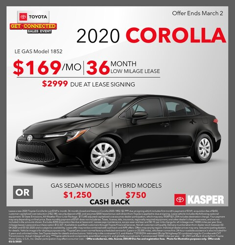 2020 Toyota Corolla Lease and Cashback Offers!
