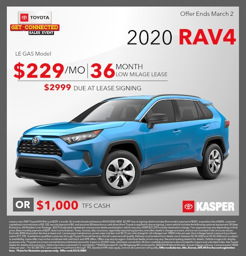 2020 Rav4 Lease/TFS Cash Options