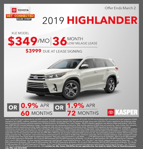 2019 Toyota Highlander -- Lease for $349/mo OR Finance Offers