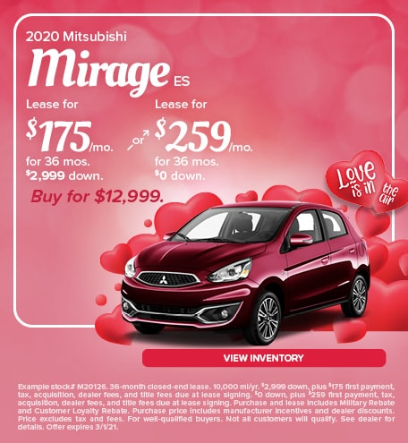 Mitsubishi Mirage Lease & Purchase Special Offer
