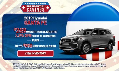 New 2019 Hyundai Santa Fe APR & Bonus Cash