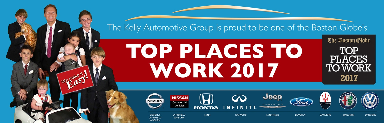Kelly Auto Group - Named To The Boston Globe's Top Places To Work List in 2017