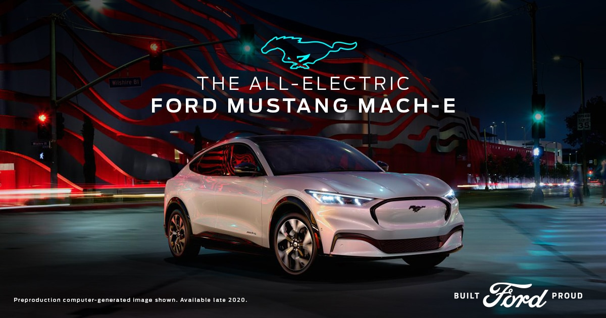 2021 Ford Mustang Mach-E Shown in White at Nighttime