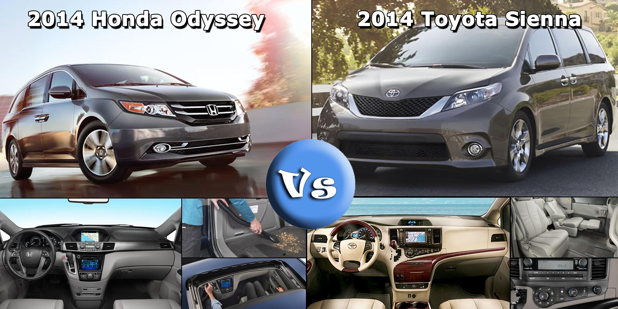 Minivan comparison 2014 honda odyssey vs 2014 toyota sienna for Compare honda odyssey and toyota sienna