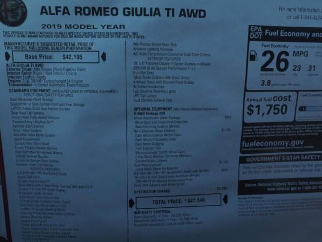 New 2019 Alfa Romeo Giulia For Sale At Kelly Maserati Vin