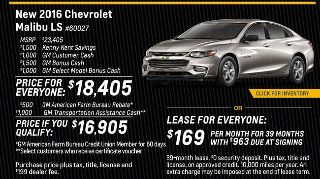 Malibu Offer from Kenny Kent Chevrolet