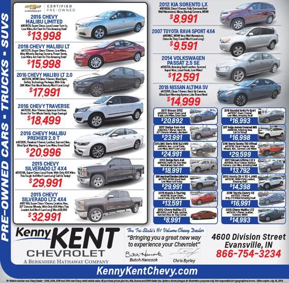 Newspaper Ad Used Car Specials Evansville Newburgh In