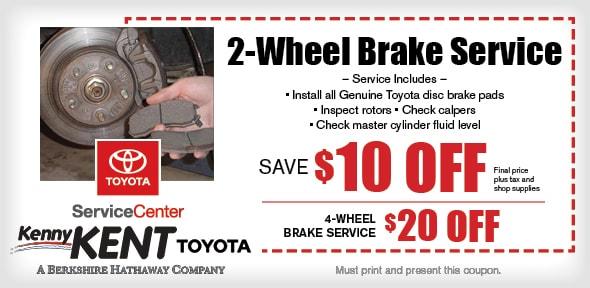 2 wheel brake service coupon evansville toyota service center kenny kent toyota. Black Bedroom Furniture Sets. Home Design Ideas