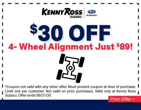 $30 OFF Wheel Alignment