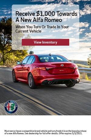Receive $1,000 Towards A New Alfa Romeo
