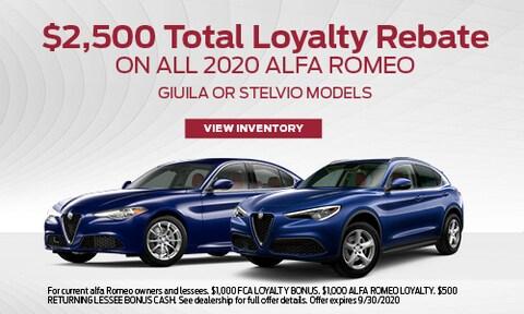 $2,500 Total Loyalty Rebate on all 2020 Alfa Romeo