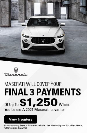 Maserati Will Cover Your Final 3 Payments