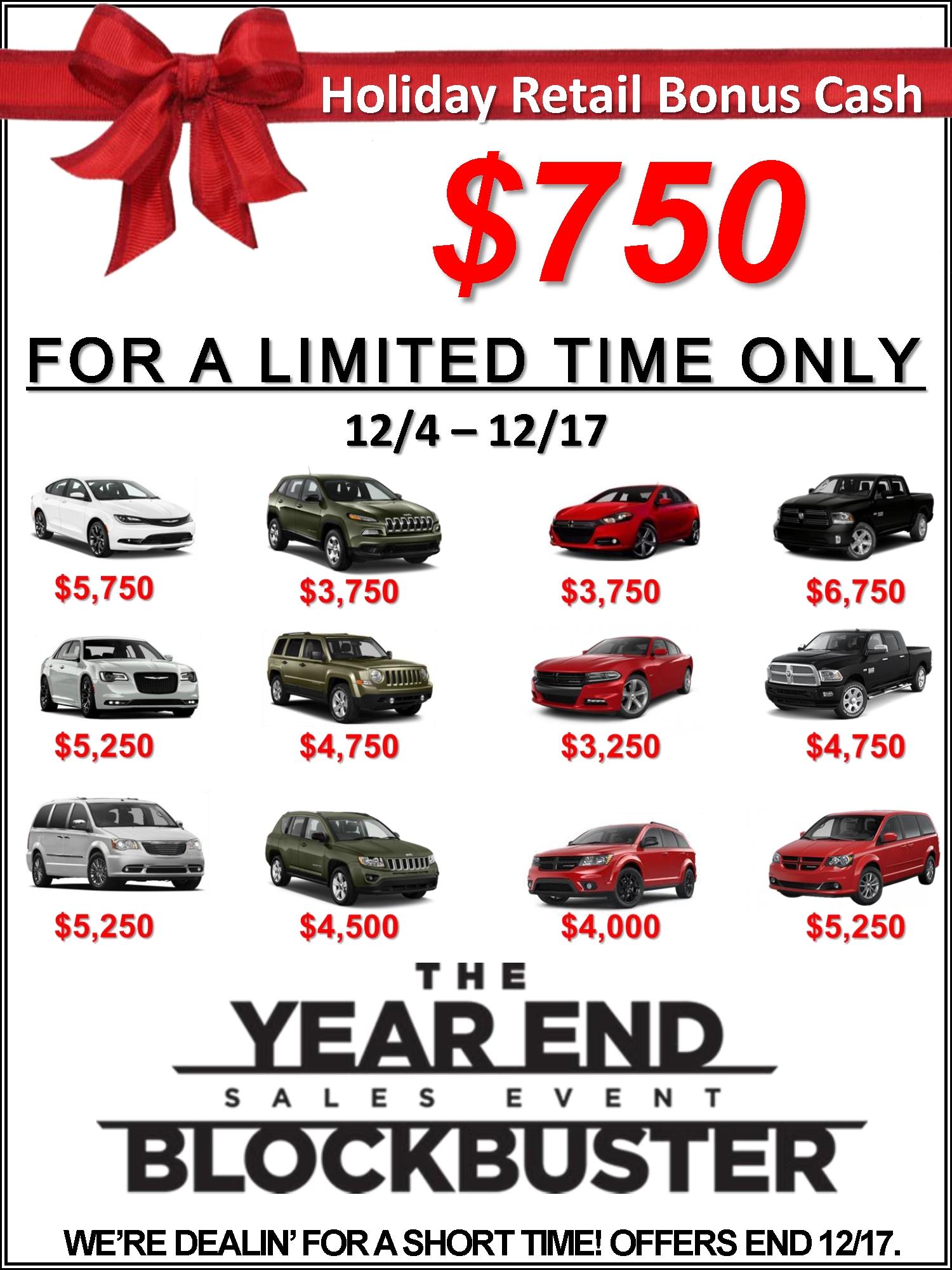 Holiday Bonus Cash Sale!
