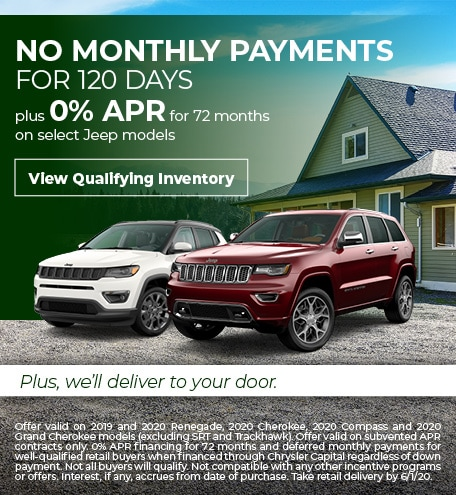 Jeep Payment Deferral & 0% Financing Offer