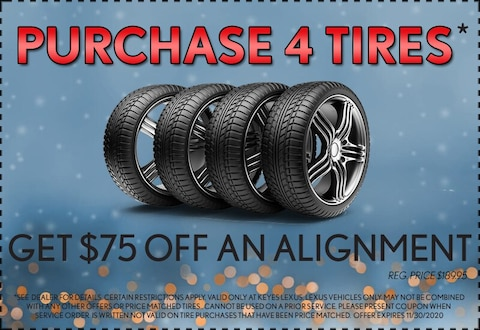 Purchase 4 Tires Get $75 Off an Alignment