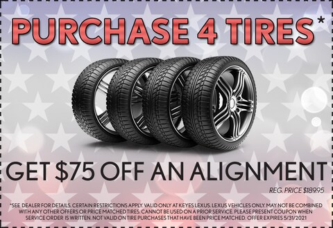 Purchase 4 Tires & An Alignment $75 Off - May 2021