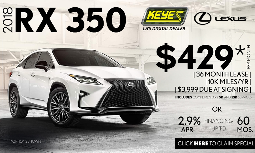 New 2018 Lexus RX 350 Premium Luxury SUV Lease Special Serving Los Angeles, Van Nuys, and Beverly Hill, CA