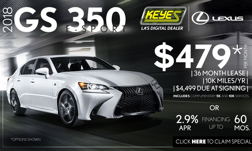 New 2018 Lexus GS 350 F-Sport Performance Premium Luxury Sedan Lease Special Serving Los Angeles, Van Nuys, and Beverly Hill, CA