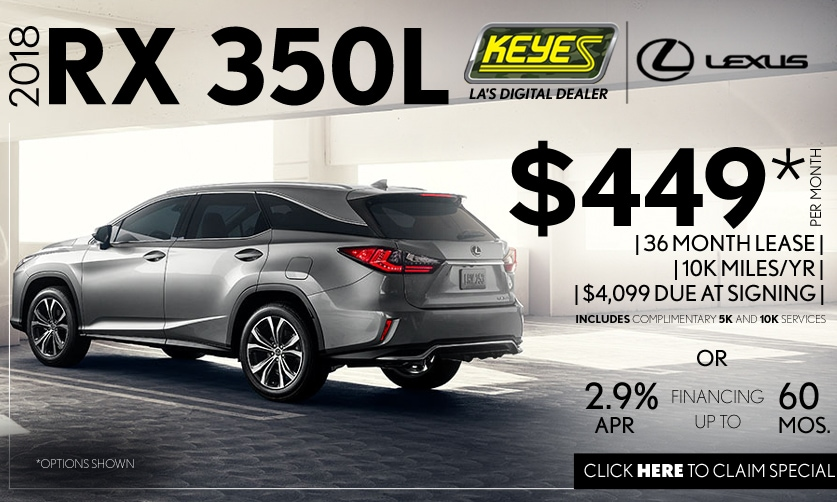 New 2018 Lexus RX 350L 3rd Row Premium Luxury SUV Lease Special Serving Los Angeles, Van Nuys, and Beverly Hill, CA