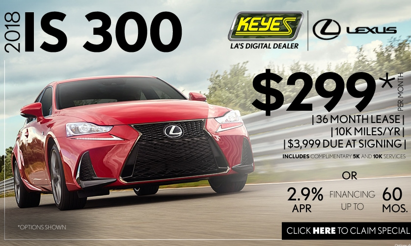 New 2018 Lexus IS 300 Sport Sedan Lease Special Serving Los Angeles, Van Nuys, and Beverly Hill, CA