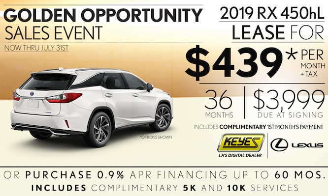 New 2019 Lexus RX 450hL 3rd Row Premium Luxury Hybrid SUV Lease Special Serving Los Angeles, Van Nuys, and Beverly Hill, CA