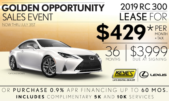New 2019 Lexus RC 300 Premium Luxury Sport Coupe Lease Special Serving Los Angeles, Van Nuys, and Beverly Hill, CA