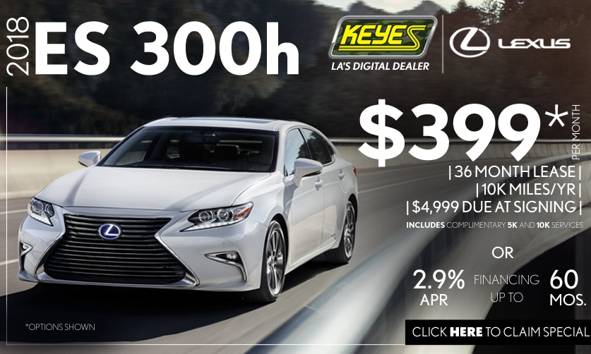 New 2018 Lexus ES 300h Premium Luxury Hybrid Sedan Lease Special Serving Los Angeles, Van Nuys, and Beverly Hill, CA