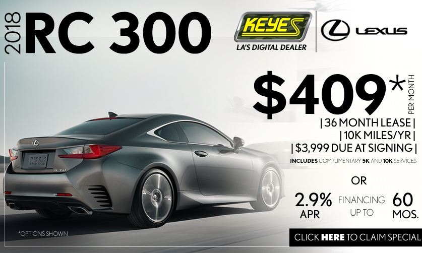 New 2018 Lexus RC 300 Premium Luxury Sport Coupe Lease Special Serving Los Angeles, Van Nuys, and Beverly Hill, CA