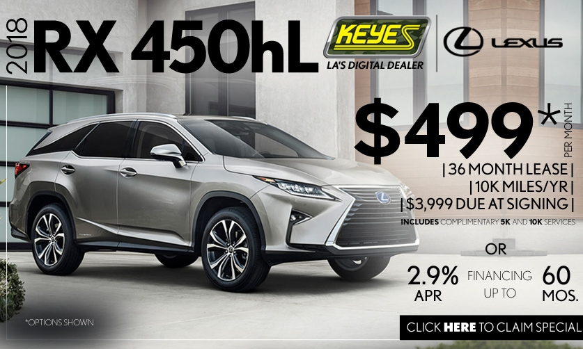 New 2018 Lexus RX 450hL 3rd Row Premium Luxury Hybrid SUV Lease Special Serving Los Angeles, Van Nuys, and Beverly Hill, CA