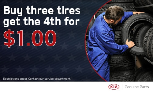 Buy three tires get the 4th for $1.00