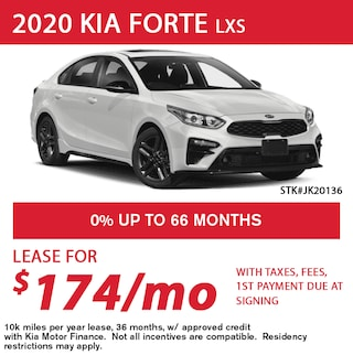 Lease a 2020 Kia Forte LXS for only $174/month
