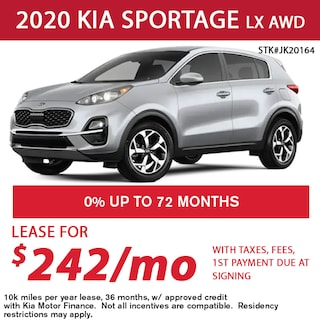 Lease a 2020 Kia Sportage LX for only $242/month